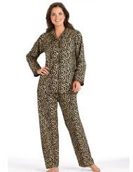 a6a0d5927ff5 Petite Animal Printed Flannel Pajamas - Misses Sizes cotton flannel PJ set  has button front