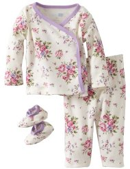Baby-girls Newborn 3 Piece Flower Bouquet Pajama Set:Kimono sleepwear set with Flower print/100% cotton/Machine Wash.