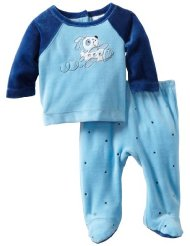 Baby Two Piece Footed Pajamas Set:75% Cotton/25% Polyester- Color: Navy blue/Back snap closure/100% Cotton/Machine wash.