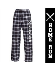 Novelty Baseball Home Run Black and White Flannel Pant/Elastic Waistband/No Pockets, no fly/100% cotton/double-brushed European-style flannel.