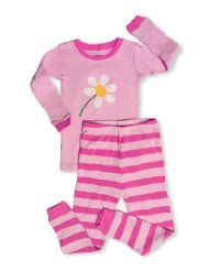 Blooming Flower 2 Piece Pajama 100% Cotton-Size 6M-5T:top features a Blooming Flower applique, And the bottom features a Dark pink & light pink striped design/Tagless Label to help protect baby's delicate skin/For fire safety, These pajamas should fit snugly/Machine Wash Warm/Customer Reviews are 4.8 out of 5.0 stars