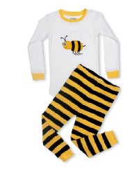 Bumble Bee 2 Piece Pajama 100% Cotton-Size 6M-5T:top features a Smiling Bumble Bee applique, And the bottom is a striped Black & yellow design, Both top and bottom are made of soft cotton.These Pajamas are snugly fitted pajamas/100% Cotton Machine Wash Warm/Customer Reviews are 4.8 out of 5.0 stars-These pajamas are fantastic. Exactly what I had hoped for.