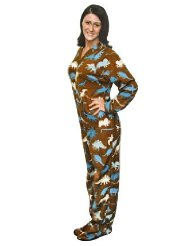 Novelty Dinosaur Print Polar Fleece Footed Pajamas Teens and Adults/popular silhouettes of cartoon dinosaurs such as Stegosarus, T. Rex, Triceratops, and Velociraptor/ footie pajamas are made for men and women/polyester/Full body zipper/Customer Reviews 5.0 out of 5.0 stars-They are SUPER COMFY and absolutely adorable.