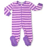 Footed Purple-Pink Striped Fleece Pajama Sleeper:Soft micro fleece with ribbed trim, Long Sleeves.Zip placket with snap tab closure for easy dressing and diapering, doesn't have to pull over baby's head.Garment is flame resistant and Skid resistant/100% Polyester./Customer Reviews are 4.1 out of 5.0 stars.