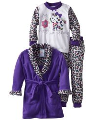 Girls 2-6X Purrfect 3 Piece Robe And Pajama Set:Knit pullover top,Ruffle detail/100% Polyester Fleece/Machine Wash.