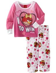 Girls Sleepwear Set 7-16 I Love Angry Birds Pajama Set:Long sleeve long pant Pajama set/100% Polyester/Machine Wash/Customer Reviews are 4.0 out of 5.0 stars-Item is exactly as described and very cute. However, it runs extremely small. Order one size bigger.