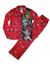 Monster High Girls Coat Pajama Set:Monster High dolls and logos are featured on print/Two piece coat pajama set/Top buttons down the front/Polyester/ flame resistant/Customer Reviews are 5.0 out 5.0 stars-The p.j.s were a very good quality. I love the design. I would recommend them.