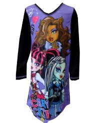 Monster High Scary Cute Nightgown for girls/ Feature Monster High favorites Draculaura, Frankie Stein,and Clawdeen Wolf/Black sleeves and trim/100% polyester/Machine Washable; Easy Care/Flame Resistant.