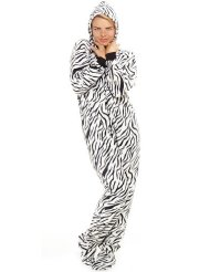 Novelty Zebra Stripes Adult Hoodie One Piece/100% Polyester Super Cozy Fleece/Matching Family/Pet Sets/Versatile - lounge, layer, sleep, play/Unisex, Relaxed fit, Front zipper.