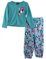 Penguins Girls Turquoise Fleece Pajamas Set XS 4/5-XL:pajamas feature a turquoise top with a glittered screen print image of a cute penguin surrounded by stars and snowflakes/Set constructed from 100% soft polyester fabric/Turquoise/Pink/Black-Machine washable.