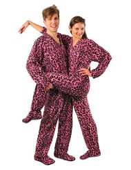 Pink Leopard Print Drop Seat Polar Fleece Feetie Pajamas/Print features pink leopard spots on a hot pink fleece background/Full body zipper runs from the neck to just below the waist/Two kangaroo style pockets are perfect for MP3 players, TV remotes, or cell phones/Customer Reviews are 4.5 out of 5.0 stars.