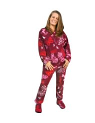 Red and Pink Butterflies Print Polar Fleece Butt-Flap Footie Pajamas/features pink, white, and red ornate butterflies flying around the maroon purple fleece background/Made from soft and cozy polyester polar fleece/Unisex sizing/Zipper closure.