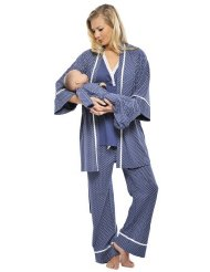 Sleepwear Pajama Set with Baby Gown:Sleeveless lace trimmed V-Neck sleepwear PJ's w/robe and baby gown.Soft and comfortable for Mom & Baby-100% Pima cotton-hand or machine wash cold.hand or machine wash cold.