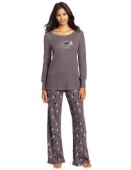 Women's Thermal Sleepwear Set with Graphic:Printed long-sleeve top with coordinating wide-legged pant.60% Cotton/40% Polyester/Machine Wash.Sizing: Medium, Large.Customer Reviews are 4.8 out of 5.0 stars.