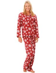 Women's Classic Flannel Pajama/Sleepwear Set-For exact Size Recommendations from size Small to 3X/Long sleeved, button down top/Elastic waist with drawstring/100% Cotton/Customer Reviews are 4.5 out 5.0 stars.