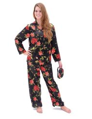 Women's Classic Satin Sleepwear Set and Sleep Mask:Button front top and matching sleep mask with Elastic waist.Premium Satin Poly.size Small to 3X.Customer Reviews are 4.0 out of 5.0 stars.