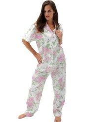 53674ce5f1 Women s Classic Short Sleeve Cotton Pajama Set Button-down top with long  sleeves