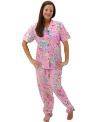Women's Classic Short Sleeve Cotton Sleepwear Set:Button-down top with long sleeves with Elastic waist with drawstring/100% Cotton.size :Small to 3X.Customer Reviews are 4.5 out of 5.0 stars .