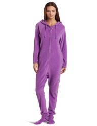 Women's One Piece Footed Pajama:Extra room in hips and elastic at ankles with Micro fiber for comfort and warmth/100% Polyester-Machine Wash.Customer Reviews are 4.6 out of 5.0 stars.